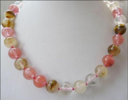 """10mm round multicolor watermelon tourmaline necklace 18/"""" AAA##KH116"""