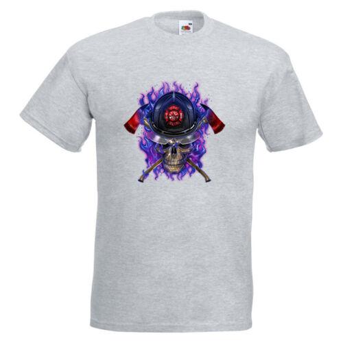 Purple Fire Skull Mens PRINTED T-SHIRT Axes Helmet Flames Gothic