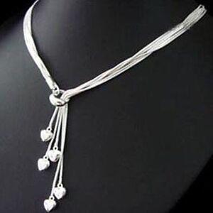 ASAMO-Damen-Halskette-5-Herzen-925-Sterling-Silber-plattiert-Herzkette-HA1092