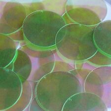 """Lime Green Crystal Rainbow Iris Sequins Round 1.5"""" Large Couture Paillettes"""