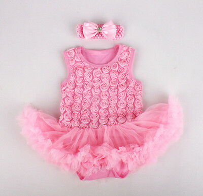 2pcs Newborn Baby Rose Girl Headband+Romper Dress Set Clothing Outfit Pink 0-3M