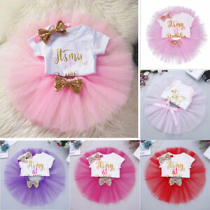 7fb78b3caedc Baby Girls  1st Birthday Tutu Outfit Party Dress Set Romper Bow ...