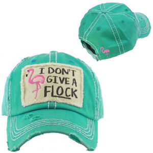 I DONT GIVE A FLOCK Bird Flamingo Ladies Cap Blue Factory Distressed ... def48a4522f