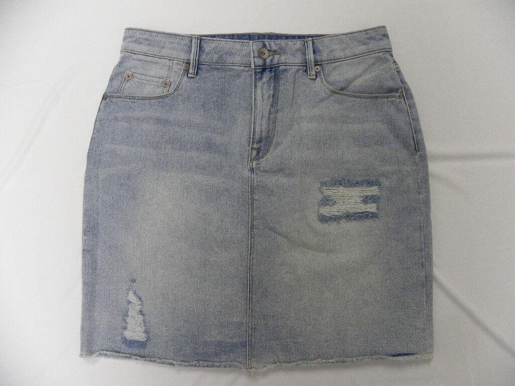 Roxy Women The Unique Light bluee Denim Skirt Sz Medium