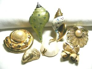 Vtg-7-Assorted-Shell-Brooches