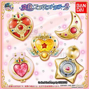 GENUINE-BANDAI-Sailor-Moon-Cosplay-Compact-Mirror-Henshin-Brooch-Part-2-Set-of-5