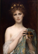Stunning Oil painting Naked young fairy beauty girl & Pandora with her box