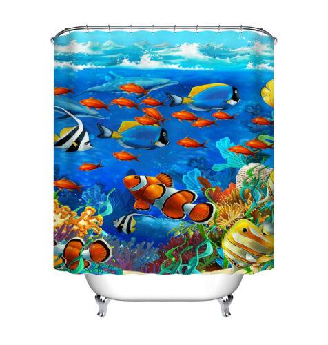 Fish in Deep Sea Nautical Shower Curtain Liner Bathroom Waterproof Bath Mat Rug