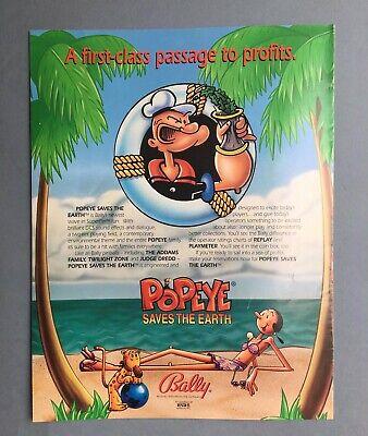 Popeye 1993 Original Pinball Machine Plastic Promo Drink Coaster Bally Game