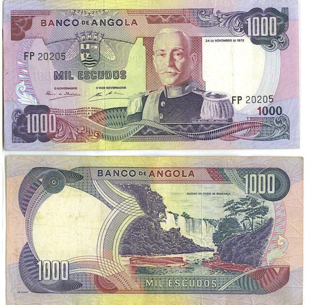 1000 Escudos Colonial Portugal G Angola P-96 1962