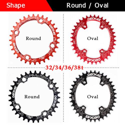 DECKAS 104bcd MTB Round Oval Narrow Wide Chainring 32//34//36//38T Bike Chainwheel