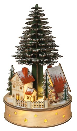 Windup Musical Moving Christmas Tree Wooden Snow Village Scene Town Decor