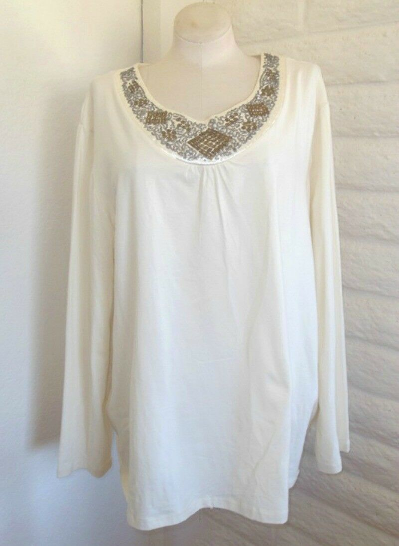 NEW  Liz & Me 4X Ivory Beads Sequins Long Sleeves Cotton Knit Tunic Tee Top