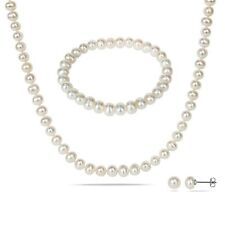Silvertone Cultured Freshwater Pearl Necklace,Bracelet & Earrings by Amour