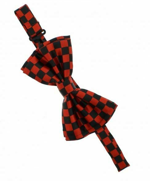 Unisex Black and Red Check Checkered Pattern Novelty Bow Tie - Brand New