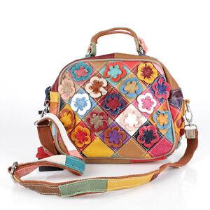 neues Erscheinungsbild attraktive Designs Turnschuhe Details zu Tasche Handtasche Echt Leder Shopper Umhängetasche Geflochten  Blumen Patchwork S