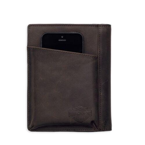 Harley-Davidson Men/'s Debossed Graphics Brown Leather Phone Case Wallet