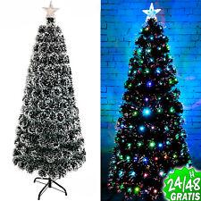 Arbol de Navidad Verde Nevado Luz LED y Fibra Optica y Pedestal...
