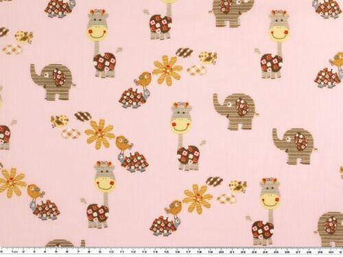 140cm Baumwollstoff Elefanten mehrfarbig rosa