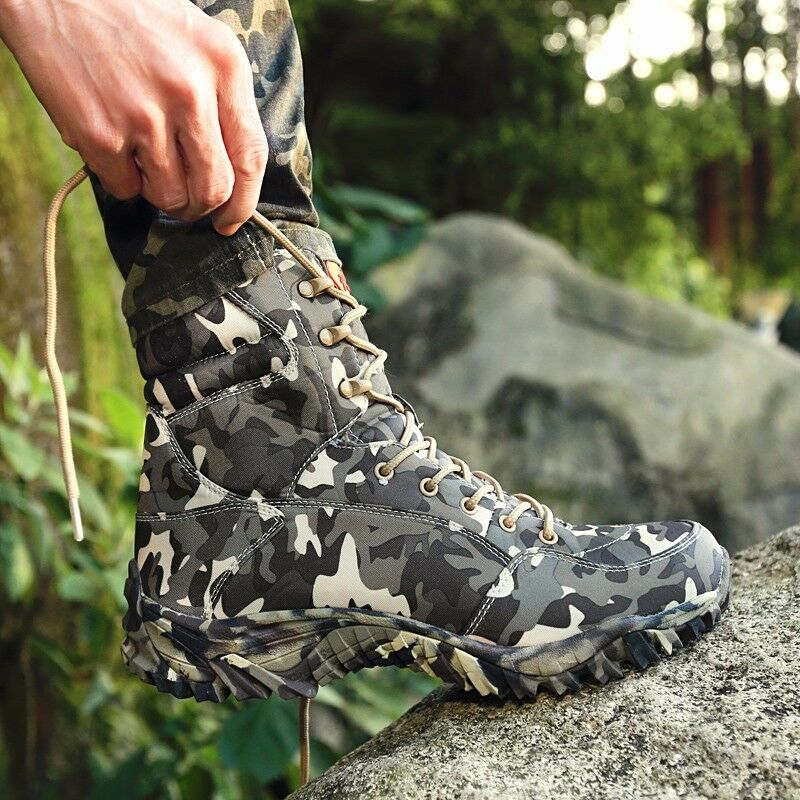 Men's Camouflage Army Military Tactical Combat Lace Up Desert Boots Hunting