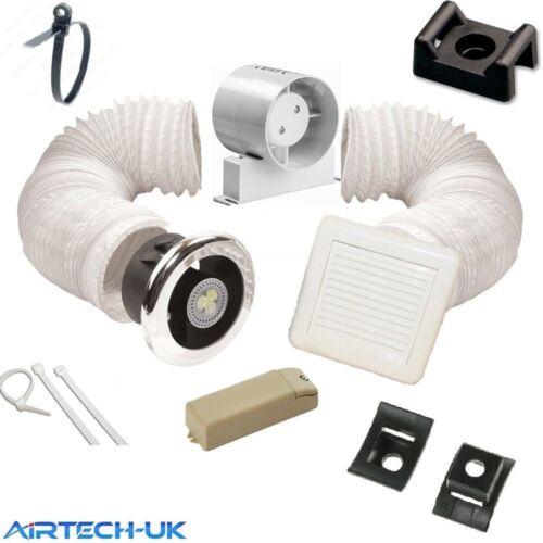 """Ventilateur de salle de bain minuteur lumière kit 100mm//4/"""" inline ventilateur d/'extraction"""