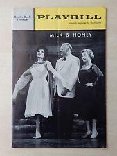 November 26th, 1962 - Martin Beck Theatre Playbill - Milk & Honey - Molly Picon