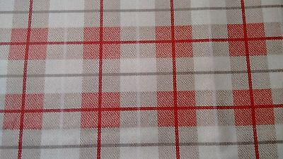 Fryetts Scandi Red Stripe Cotton PVC Fabric WIPE CLEAN Tablecloth Oilcloth