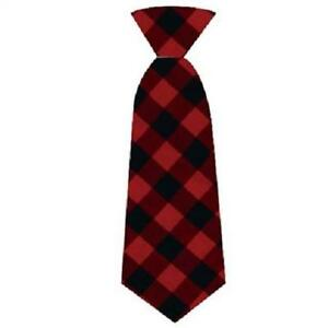 NEW Red Buffalo Check Plaid Holiday Long Tie Dog Collar Attachment Huxley & Kent