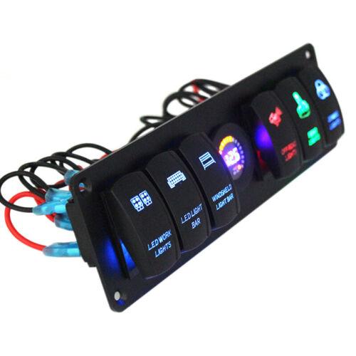 12V 6 GANG Rocker Switch Panel Circuit Breaker LED Voltmeter RV Car Marine Boat#