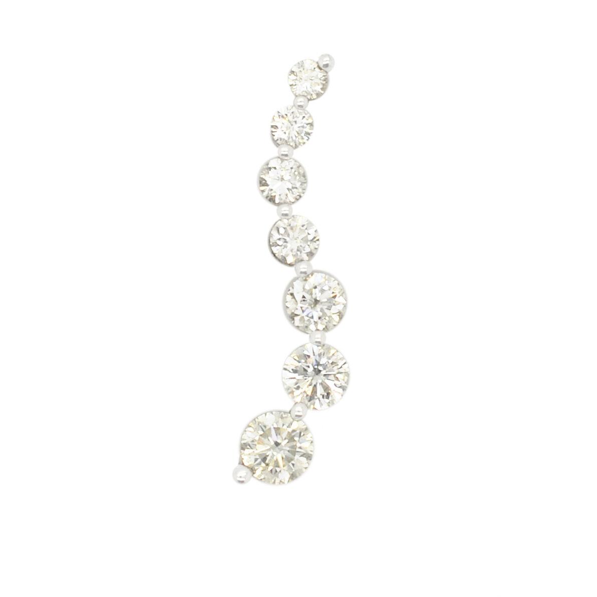 14K White gold 1.00Ct Diamond Drop Down Journey Pendant PEN01433