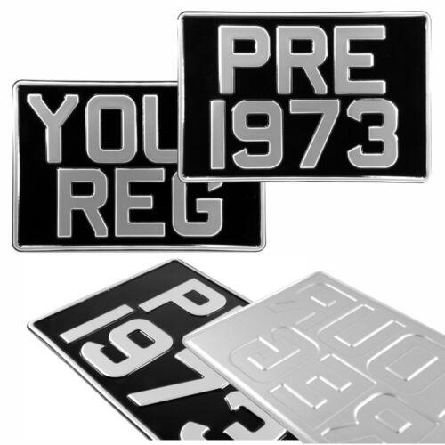 Par 2 12x8 cuadrado negro y plata prensado matrículas Reino Unido Coche de Metal de Aluminio