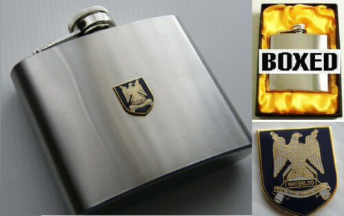 THE ROYAL SCOTS DRAGOON GUARDS BADGE ARMY MILITARY STAINLESS STEEL 5OZ HIP FLASK