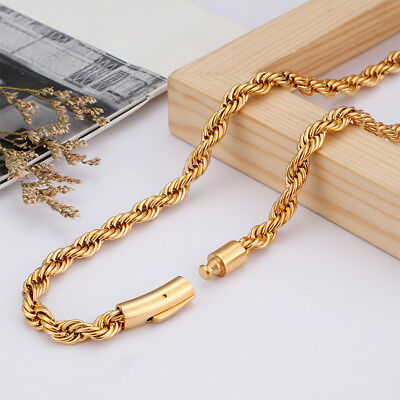 Trendy 40g Gold Stainless Steel Women Men Punk Rope Link chain necklace 5mm 26/'/'