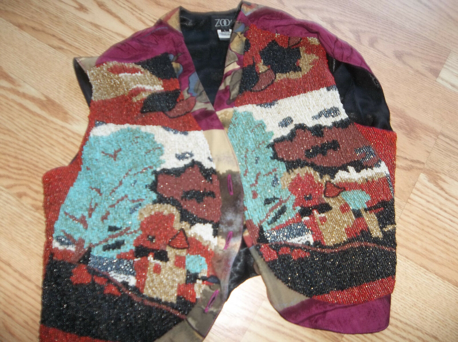 Zoog Beaded Vest size large tribial scene  indonesia fall colors