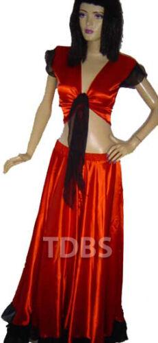 Red Black Flamenco Skirt Top Set Belly Dance Ruffle Gypsy Tribal Costume Jupe