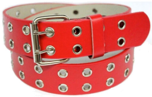 Two 2 Double Row Leather Belt with Silver Grommet Holes /& Buckle Black Brown ...