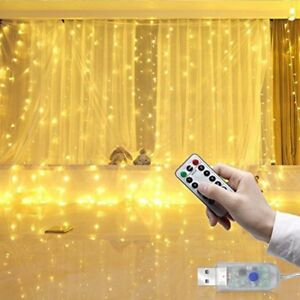 300-LED-3m-Fairy-Curtain-String-Lights-Wedding-Party-Room-Decor-Light-w-Remote