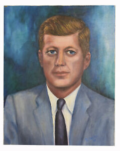 20-034-Oil-Painting-on-Canvas-Blue-Eyes-Man-Kennedy-Portrait-Signed-J-Pauley-Art