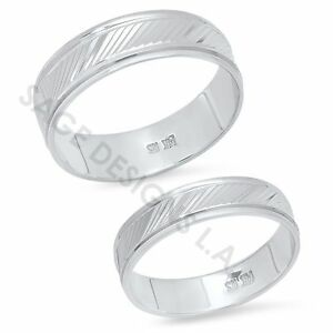 His-Hers-14K-White-Gold-Mens-Womens-Matching-Wedding-Band-Engagement-Ring-Set