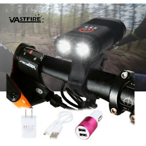 3000LM Double LED Rechargeable Bicycle Head Light Bike USB Lamp+Rotating Mount H