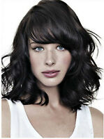 Hot Women Mid Long Wave Curly Heat Resistant Hair Sylish Wig Black Free Ship+Cap
