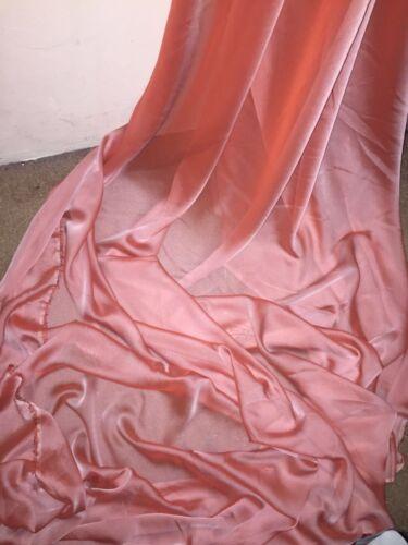 "5 MTR TWO TONE PEACH CATIONIC SHEER BRIDAL DRESS CHIFFON FABRIC..58/"" WIDE £12.50"