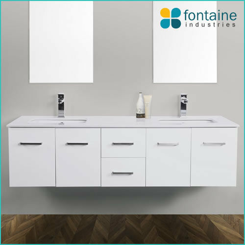 Bathroom Matte White Wall Hung Double Ceramic Basins Stone Top NEW 1500 SALE