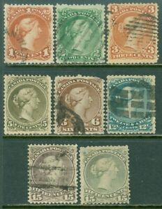EDW1949SELL : CANADA 1868-76 Scott #22, 24-30 F-VF, Used Nice centering Cat $920