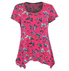 New Ladies Floral Multi Colour Short Sleeve Tunic Women Smock Top Size 10-20