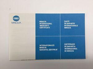 Minolta Warranty Certificate