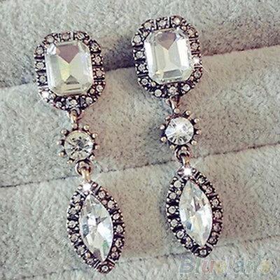 Women's Fashion Rhinestone Crystal Gem Waterdrop Pendant Dangle Eardrop Earrings