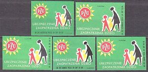 POLAND-1964-Matchbox-Label-Cat-Z-512-set-PZU-Insurance-for-children