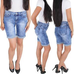 Damen-Shorts-Capri-Bermuda-Kurze-Jeans-Hose-Hueftjeans-Stretch-bis-Ubergroesse-4XL