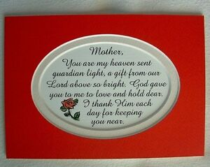 Details About Mother Mom Guardian Light Heaven Sent Gods Gift Love Dear Verses Poems Plaques